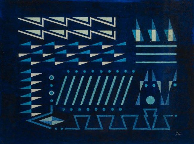 Composition sur fond bleu - Yves Laloy