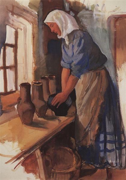 Крестьянка с горшками, c.1900 - Зинаида Серебрякова